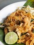 Smażący kluski ochraniacz tajlandzki tajlandzki jedzenie stylu ulicy jedzenie Obraz Stock