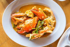 Smażący krab z curry'ego proszkiem Fotografia Royalty Free