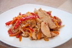 Smażący kurczaka i warzyw fertanie Obrazy Stock