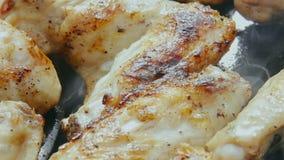 Smażący kurczaka skrzydło dymi na grillu zbiory wideo