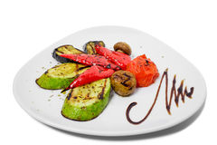 smażący oberżyny wyśmienicie jedzenie piec na grillu pieczarek odżywczych smakowitych pomidorów pożytecznie warzywa jarskich Obraz Stock