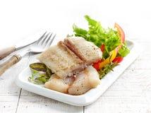 Smażący pangasius rybi polędwicowi kawałki zdjęcia royalty free