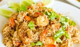 Smażący ryż z garnelą Obraz Stock