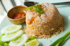 Smażący ryż z garnelą Fotografia Royalty Free