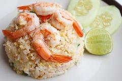 Smażący ryż z garneli zakończeniem up Fotografia Stock