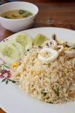 Smażący ryż z kałamarnicą Obrazy Royalty Free