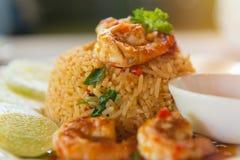 smażący ryż z korzennym Tom Goong & x28 Yum; Prawns& x29; z garnelą, Tajlandzki f Obrazy Royalty Free