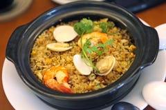 Smażący ryż z owoce morza Fotografia Royalty Free