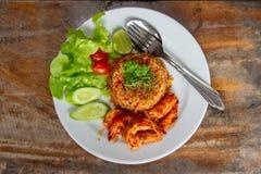 Smażący ryż z owoce morza, korzenny karmowy Tajlandzki styl zdjęcie royalty free