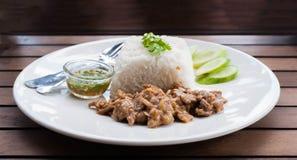 Smażący ryż z smażącą wieprzowiną Zdjęcie Stock