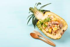 Smażący ryż z wieprzowiną w przyrodniej ananasowej owoc, Tajlandzka kuchnia Obraz Stock