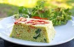 Smażący ryż z zielonym currym Fotografia Stock