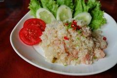 Smażący ryżowi whit podśmietania warzywa i wieprzowina Zdjęcia Royalty Free