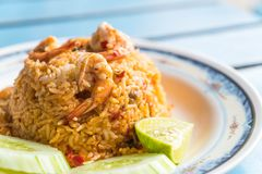 smażący ryżowy korzenny owoce morza Zdjęcia Stock