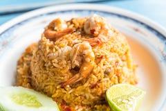 smażący ryżowy korzenny owoce morza Zdjęcie Stock