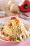 smażący ryżowy owoce morza Obrazy Stock