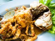 Smażący rybi z korzennym kumberlandem, Tajlandzki jedzenie Zdjęcia Stock