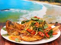 Smażący rybi ziołowy Obrazy Royalty Free
