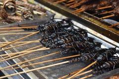 Smażący skorpiony na kiju przy lokalnym chińczykiem wprowadzać na rynek w Pekin zdjęcie stock