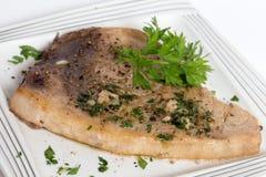 Smażący swordfish stek Zdjęcia Stock