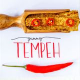 Smażący tempeh dekorujący z chłodnym YUMMY TEMPEH podpis Odgórny widok obraz royalty free