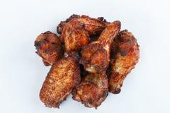 Smażę piec na grillu kurczak nogi na białym tle menu FastFood Obraz Royalty Free