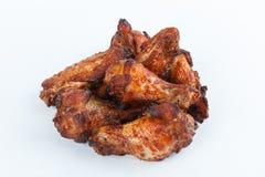 Smażę piec na grillu kurczak nogi na białym tle menu FastFood Fotografia Royalty Free