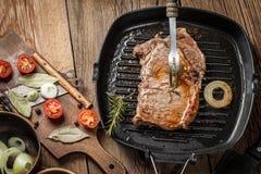 smażony stek wołowiny Obrazy Stock