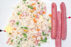 Smażyć kiełbasy ryż i obraz royalty free