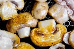 Smażyć pieczarki w gorącej smaży niecce na elektrycznej kuchence Fotografia Stock