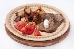 SMAŻĄCY wieprzowiny mięsa krowy POMIDOROWY SAŁATKOWY ser Fotografia Royalty Free
