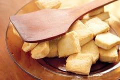 smażone tofu. Zdjęcia Stock