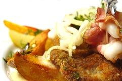 smażone ziemniaki upiec wieprzowych Obrazy Stock