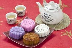 Smaak vier van mooncake Stock Fotografie