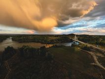 Smaalenene bridge in Norway over river Glomma. At sunset. Glomma is the largest river royalty free stock photo