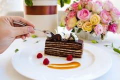 Smaczny czekoladowego torta deseru przepis Zdjęcie Royalty Free