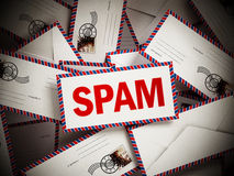 Smail mail among blank enveloppes. 3D illustration Royalty Free Stock Photo