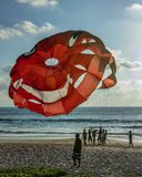 Smail. Sea  ​​parachute smile rest summer beach Stock Photos