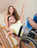 Smailing  Man On Wheelchair Royalty Free Stock Images