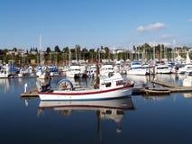 Smaill Fischerboot-Jachthafen reflektiert im Wasser Stockbild