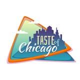 Smak av det Chicago banret Plan stad med titel royaltyfri illustrationer