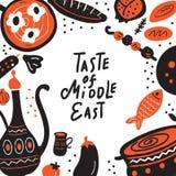 Smak av utdragen bokstäver för mellersta östlig hand och illustrationen av traditionell mat Vektormall för menyn, reklamblad vektor illustrationer