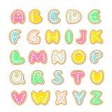 Smakelijk alfabet, vectordiereeks koekjesbrieven op witte achtergrond wordt geïsoleerd vector illustratie