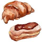 Smakelijk cake en broodjes zoet dessert Van de achtergrond waterverf reeks Het ge?soleerde element van de dessertsillustratie royalty-vrije stock foto
