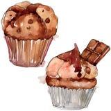 Smakelijk cake en broodjes zoet dessert Van de achtergrond waterverf reeks Het ge?soleerde element van de dessertsillustratie stock foto