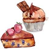 Smakelijk cake en broodjes zoet dessert Van de achtergrond waterverf reeks Het ge?soleerde element van de dessertsillustratie vector illustratie