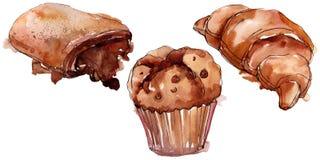 Smakelijk cake en broodjes zoet dessert Van de achtergrond waterverf reeks Het ge?soleerde element van de dessertsillustratie royalty-vrije illustratie