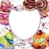 Smakelijk cake en broodjes zoet dessert Waterverf achtergrondillustratiereeks Het ornamentvierkant van de kadergrens royalty-vrije stock afbeelding