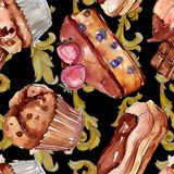 Smakelijk cake en broodjes zoet dessert Waterverf achtergrondillustratiereeks Naadloos patroon als achtergrond stock afbeelding