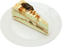 Smakelijk cakedessert met vruchten, noten en roomkaas Royalty-vrije Stock Afbeelding